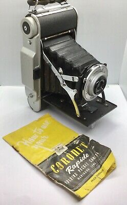 Vintage Coronet Rapide 120 6x9 Roll Film Camera And Original Instructions