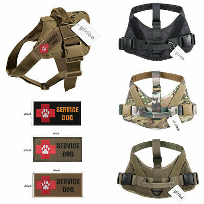 Tactical Service Dog Harness Military Patrol K9 Vest W/Handle Patches Dog Leash