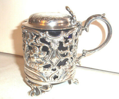 Fine Antique Ornate Silver Plated Large Mustard Pot c1880 ref cm