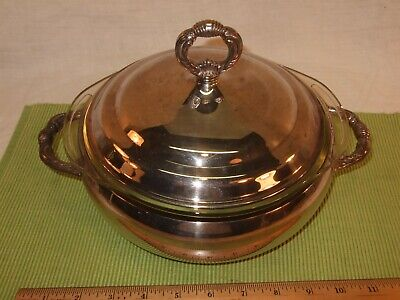 "Sheffield Silverplate serving dish with Pyrex insert oven compatible 8"" f-24"