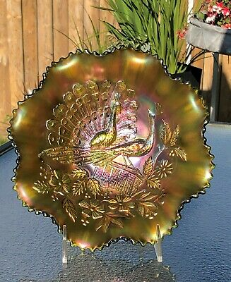 Rare Vintage Green Northwood Carnival Glass Two Peacocks On A Fence Bowl