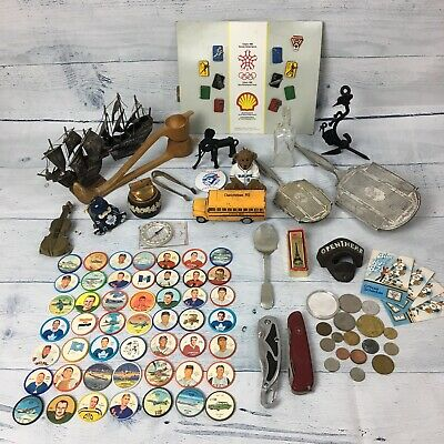 100+ Item Junk Drawer Box Lot SILVER, KNIVES, COINS, INK BOTTLE, PINS& MORE