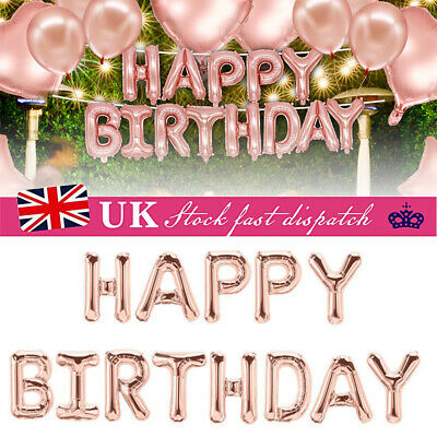 """Happy Birthday Banner Bunting Balloons Hanging Garland Party Decor Rose Gold 16"""""""