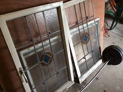 Antique Leaded Stained Glass X 2