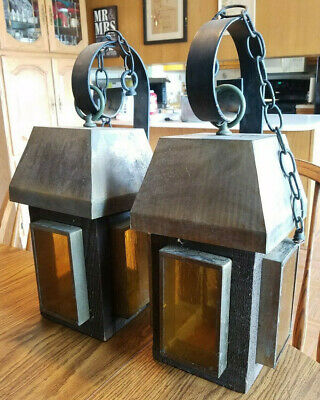 PAIR Vintage WROUGHT IRON Porch / Outside LANTERN Amber GLASS Electric LIGHTS