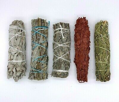 Set of 5: Sage Smudge Stick Bundle Sampler Kit:White, Black, Blue, Red, Cedar