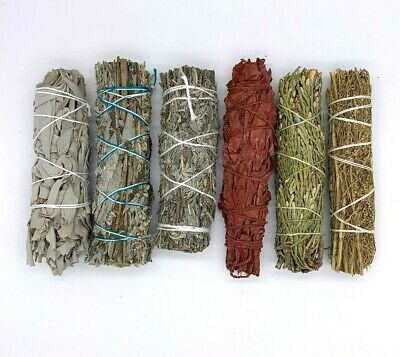 Set of 6: Sage Smudge Stick Bundle Sampler Kit: White,Black,Blue,Red,Cedar, Des.