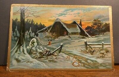 Antique Christmas Card - Tuck's Post Card- Beautiful Snowy Home Scene