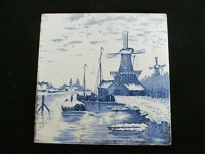 "Antique Indonesian Blue & White Delftware Style Dutch Windmill 6"" Square Tile"