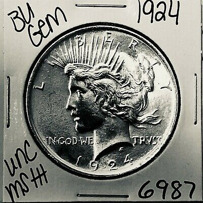 1924 Bu Gem Silver Peace Dollar Coin #6987 Free Shipping Unc Ms+++