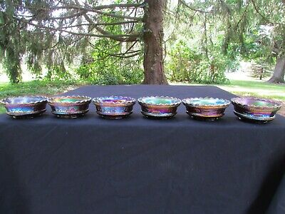 Northwood PEACOCK AT THE FTN ANTIQUE CARNIVAL GLASS 6 PC. BERRY SET~PURPLE!