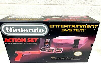 Original Nintendo NES Action Set BOX ONLY W/ Styrofoam And Poster Super Clean!