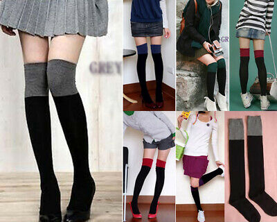 Au Stock Cotton Thigh High Stocking Over The Knee Long Sport Socks Hos051