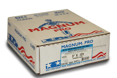 """Magnum Fasteners 16553 3"""" x .131"""" Bright Smooth Shank Nails (2500 ct)"""