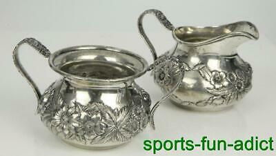 S.KIRK & SON Repousse Sterling Silver Hand Decorated Creamer & Sugar #418B