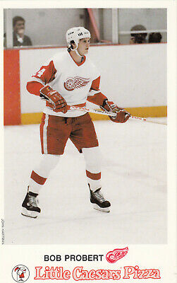 1987 Little Caesars Pizza Postcard Bob Probert Detroit Red Wings