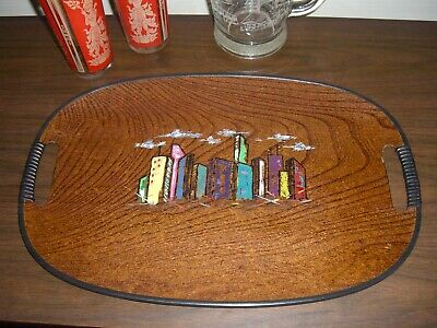 """Vintage Mid Century painted Oval Serving Tray MCM 18"""" Wall Art Japan"""