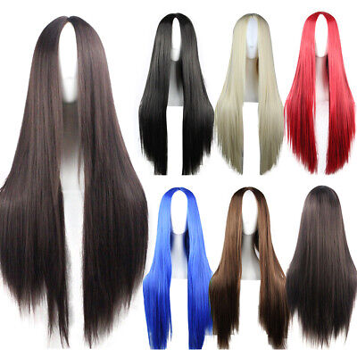 Heat Resistant Synthetic Hair Long Straight Cosplay Wig Anime Fancy Dress Wigs