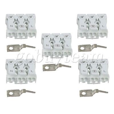5x Terminal Blocks 450V Quick Wires Cables Connectors 3P White with Hook
