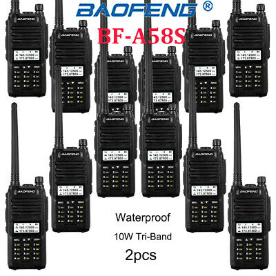12* BAOFENG A58S Walkie Talkie Tri-Band 10W 128CH Two Way Radio Waterproof VOX