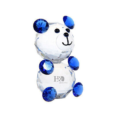 Blue Crystal Glass Animal Figurines Bear Paperweights Collectibles Xmas Ornament