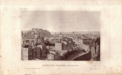 Highstreet Edinburgh Scotland Great Britain Steel engraving 1840