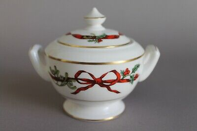 Royal Worcester Holly Ribbons Zuckerdose Dose England