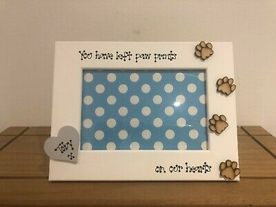 Personalised Dog Cat Photo Frame Memorial Bereavement Remembrance Wooden Heart
