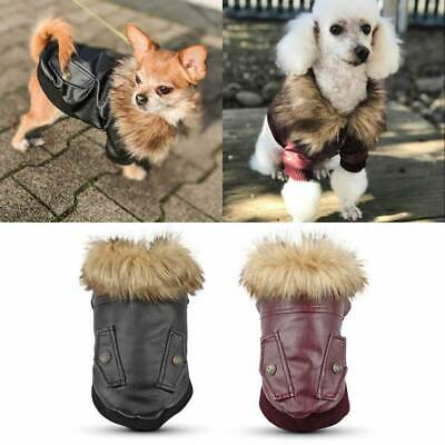 Waterproof Warm Winter Pet Dog Coat PU Leather Jacket Puppy Clothes Windproof