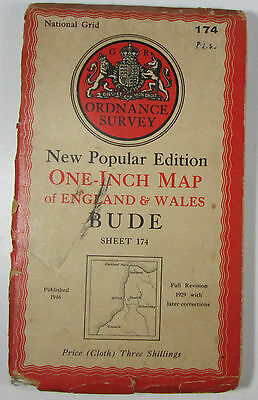 1946 old OS Ordnance Survey New Popular Edition one-inch CLOTH map 174 Bude