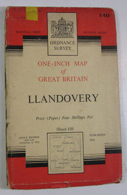 1955 Old Vintage OS Ordnance Survey Seventh Series One-Inch Map 140 Llandovery