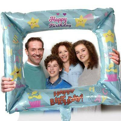 3PCS Inflatable Foil Photo Frame Happy Birthday Balloon Party Props DIY Decor