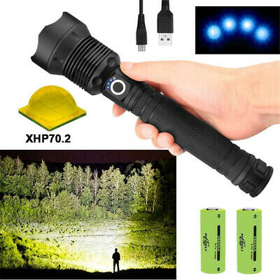 90000LM Zoomable USB Powerful Outdoor LED Flashlight Torch Light Lamp XHP70.2