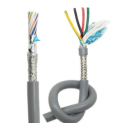 20 Core Flexible Twisted Cable Double Shielded Signal Wire 0.15mm-0.5mm Gray