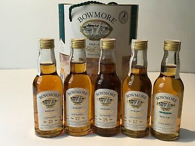 BOWMORE SET 5 BOTTLES LEGEND 12-15-17-21 YEARS OLD VERSIÓN WHISKY 20cl. IN BOX