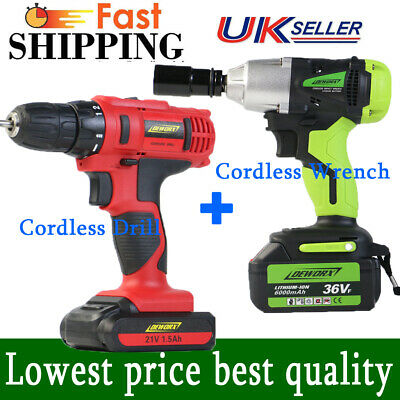 Cordless Power Drill Electric Screwdriver Impact Driver Wrench LED LIGHT+ 43 Set