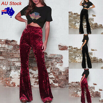 Women Elastic High Waist Flare Pants Ladies Stretch Casual Bell Bottoms Trousers