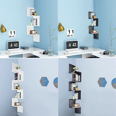 3/5 Tiers Zig Zag Floating Corner Shelf Wall Mount Bookcase Storage Organizer