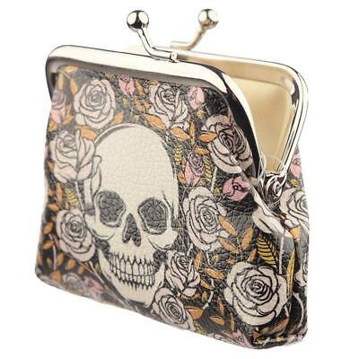 Black Skulls Roses Girls Small Coin Purse Clasp Tic Tac Keepsake Pouch Wallet
