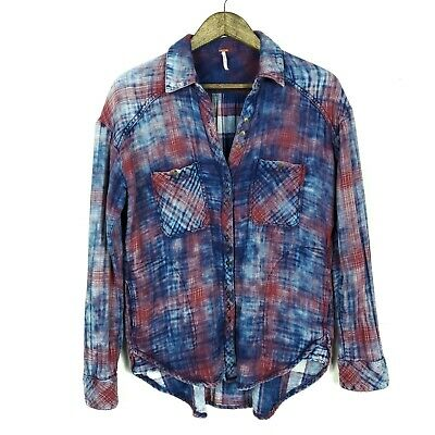 Free People Womens Shirt XS Double Dip Plaid Flannel Button Down Oversized Top