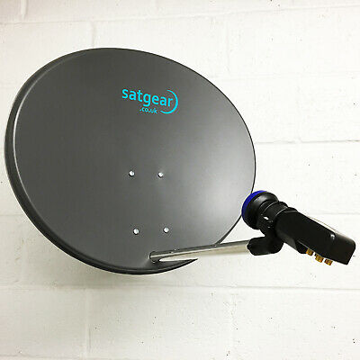Satgear 60cm Zone 2 Solid Satellite Dish kit 10m Twin Cable, Quad LNB Satfinder