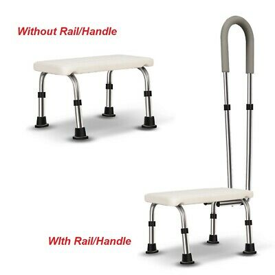 Bath Foot Step Stool With Or Without Detachable Rail Adjustable Handle Height