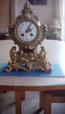 Antique French ormolu mantel clock