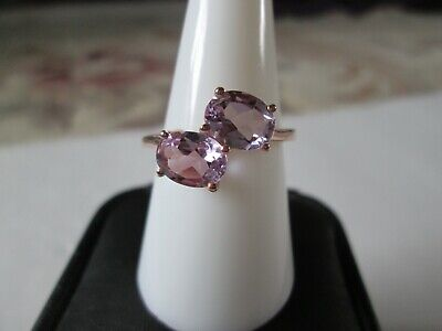Rose De France Amethyst  14K RG over Sterling Silver Ring (Sz 8) TGW 2.15 cts.