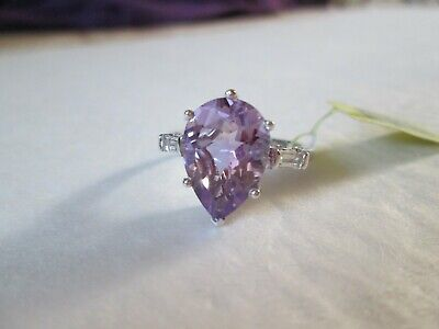 Rose De France Amethyst Platinum over Sterling Silver Ring (Size 8) TGW 5.05 cts