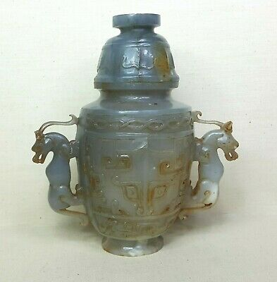 Antique Chinese vase, 20th century. Made from grey Jade with brown stone.