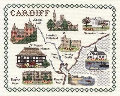 Map & Sights of City of Cardiff - Classic 14ct Counted Cross Stitch Kit