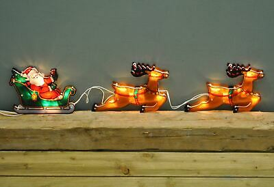 Santa in Sleigh Light Up Window Silhouette Christmas Decoration by Premier