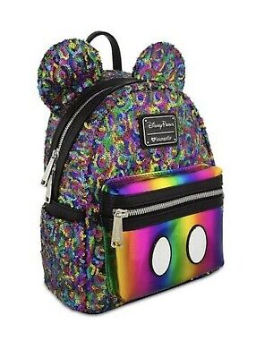 NEW Disney Parks Rainbow Colorful Mickey Sequin Mini Backpack by Loungefly