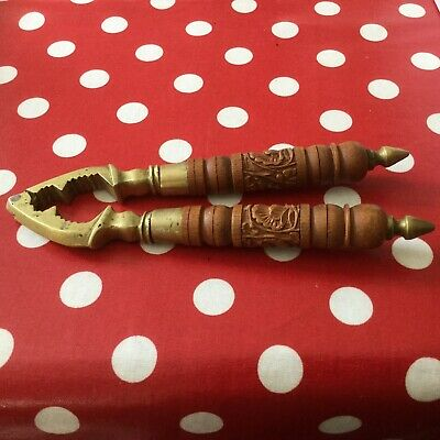 "Vintage Large Hand Carved Wood & Brass Nut Cracker 8"" Long"